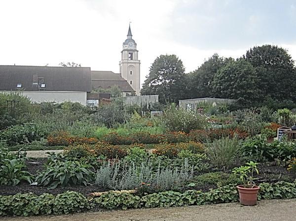 Der Garten mit Blick auf die Kirche